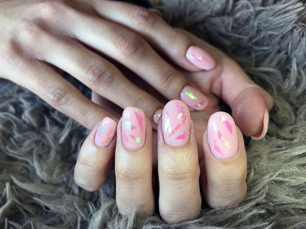 Pink Shiny Glass Nails For Women