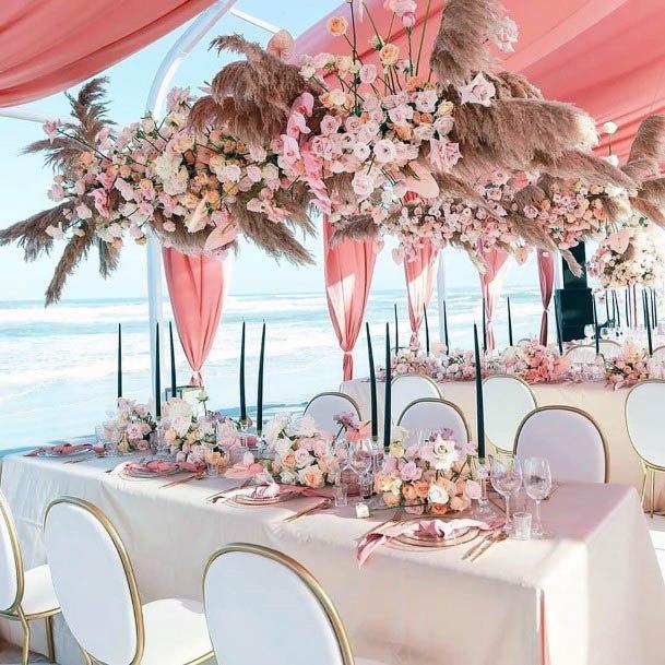 Pink Tented Beach Wedding Flowers