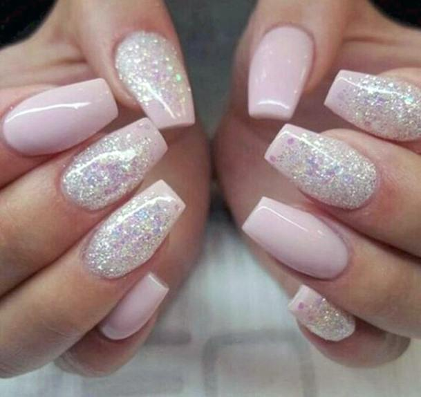Pink Tinged Snow Nails With Glitter Women