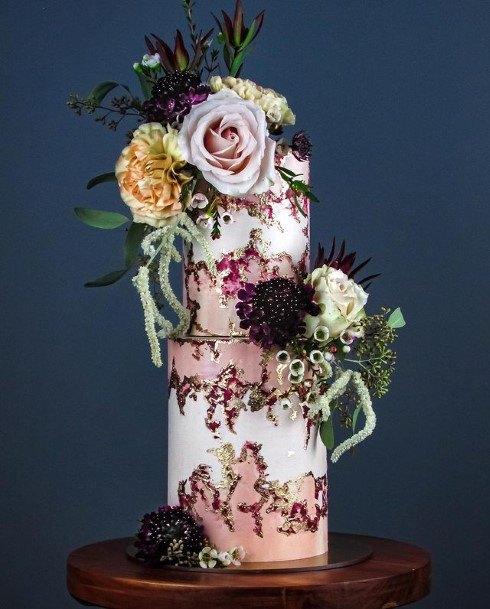 Pink Tinted 2 Tier Wedding Cake