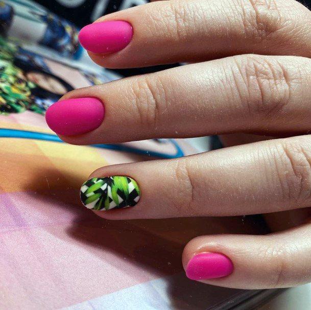 Pink Tropical Nails Women