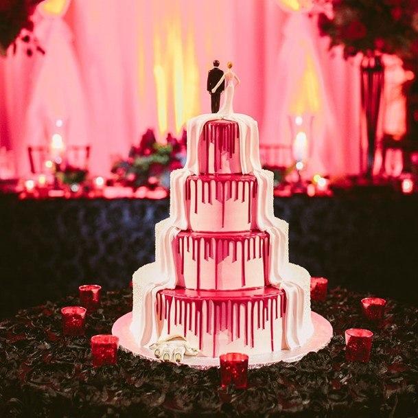 Pink Waterfall Halloween Wedding Cake