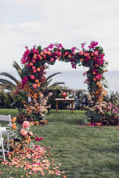 Pink Wedding Flowers Arch