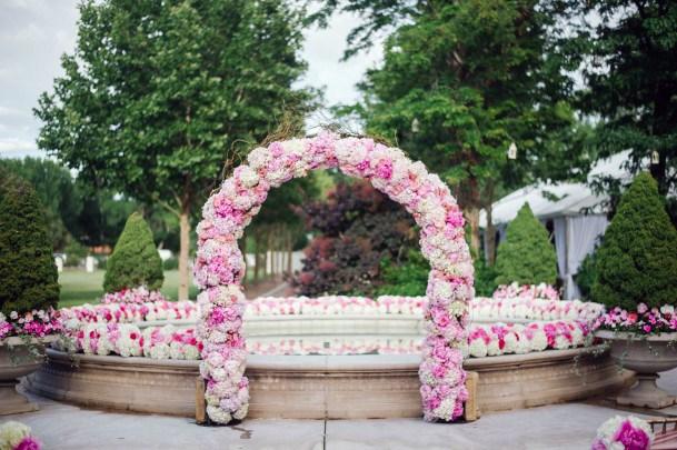 Pink White Hydrangea Wedding Arch Flowers