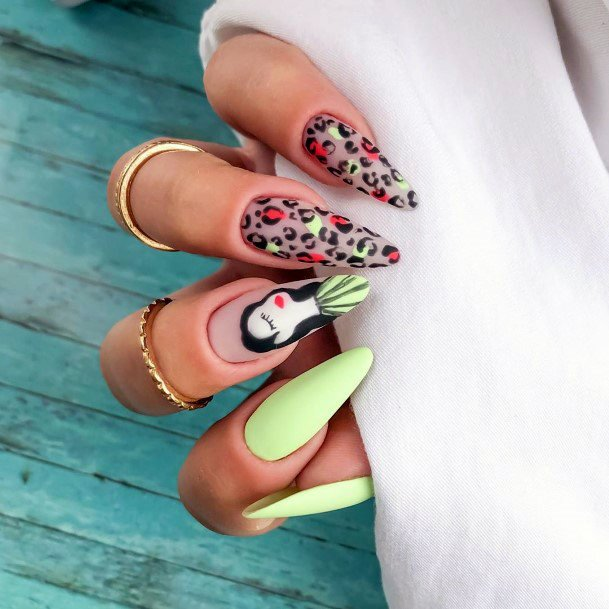 Pista Colorful Nail And Leopard Art Nails For Women
