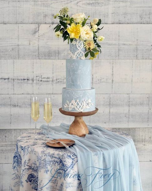 Pleasant Blue Wedding Cake
