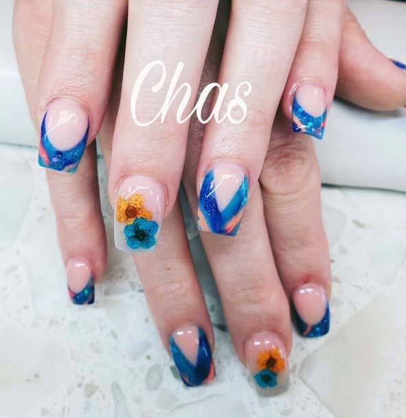 Pleasant Orange Blue Nails For Women