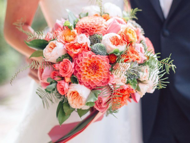 Pleasant Orange Tinted August Wedding Flowers Bouquet