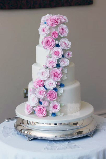 Pleasant Purple And Pink June Wedding Flowers On Cake