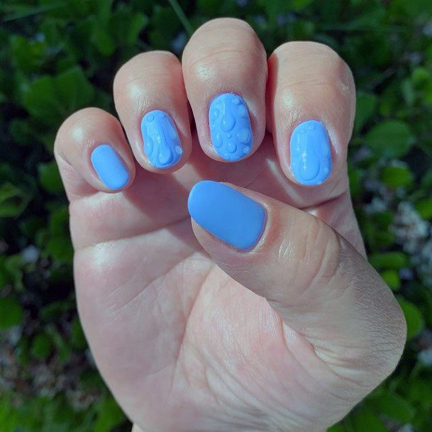Pleasing Blue Water Nails For Women
