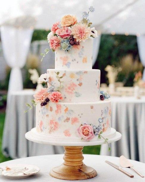 Pleasing May Flowers Wedding Cake