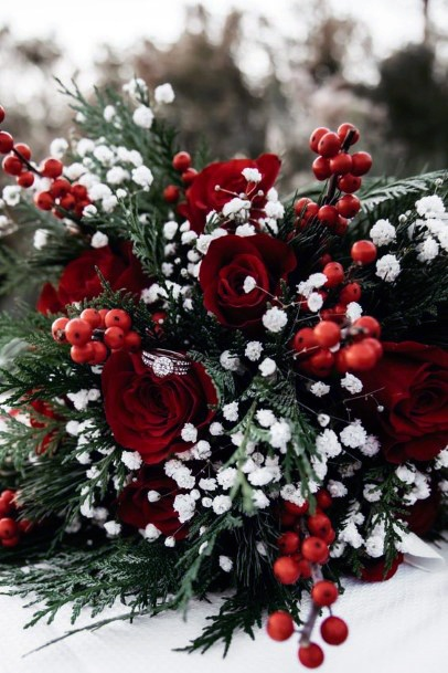 Pleasing Red And White Christmas Wedding Flowers