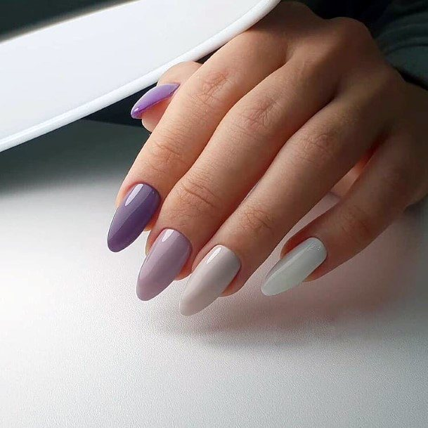 Plums And Snow White Colored Nails