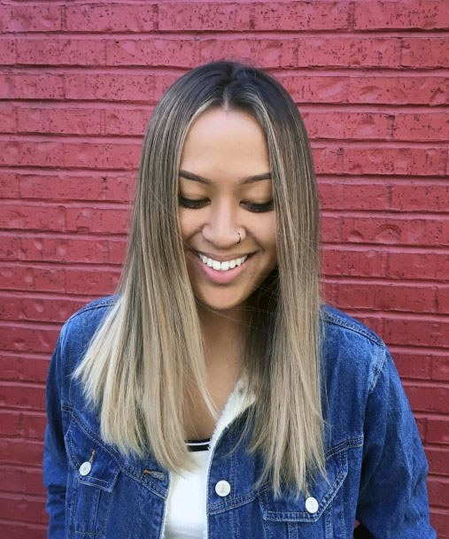 Polished Balayage Hairstyle Women With Center Part