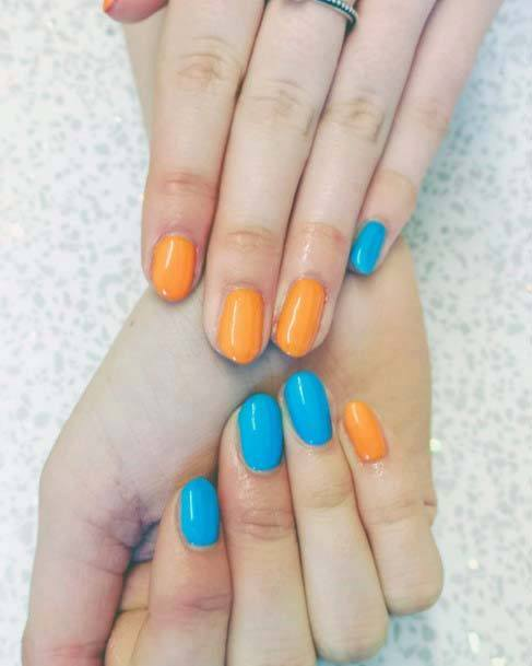 Polished Nails Orange And Blue For Women