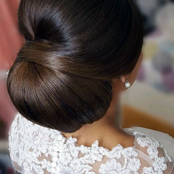 Polished Satin Chignon Hairstyle Women