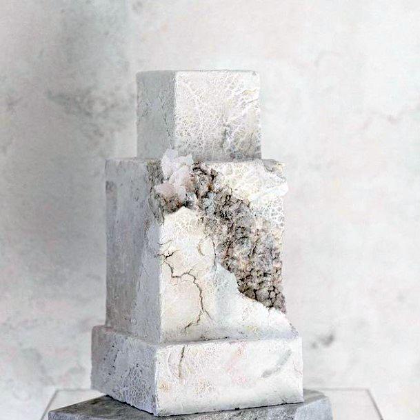Portrait Of Women Square Wedding Cake White Art
