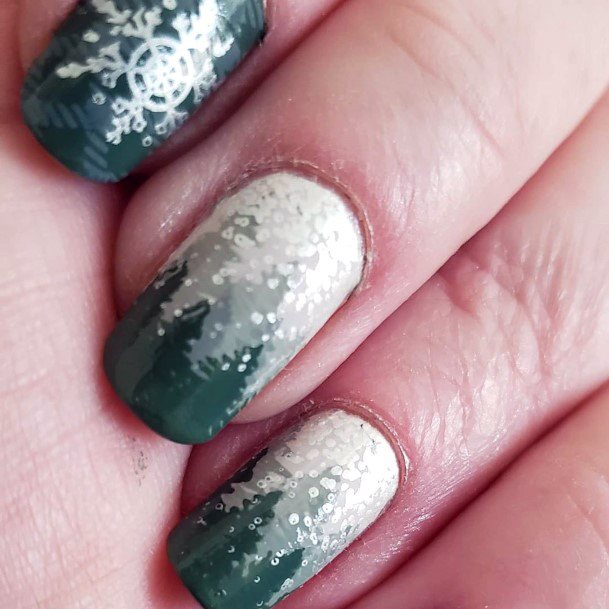 Powdery Snow White And Olive Green Nails Women