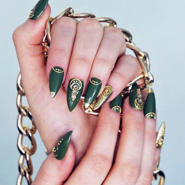 Precious Green And Gold Nails Women