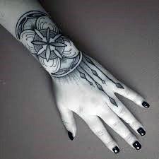 Pretty Black Design Womens Wrist Tattoo