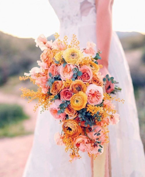Pretty Blue And Yellow Wedding Flowers