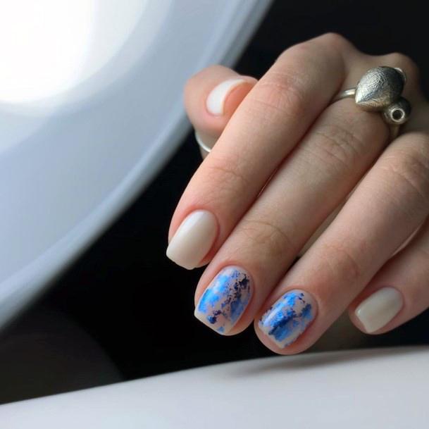 Pretty Blue Foils On Nails Snow Design Women