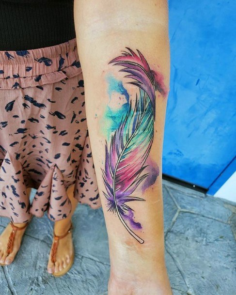 Pretty Colored Feather Tattoo Women
