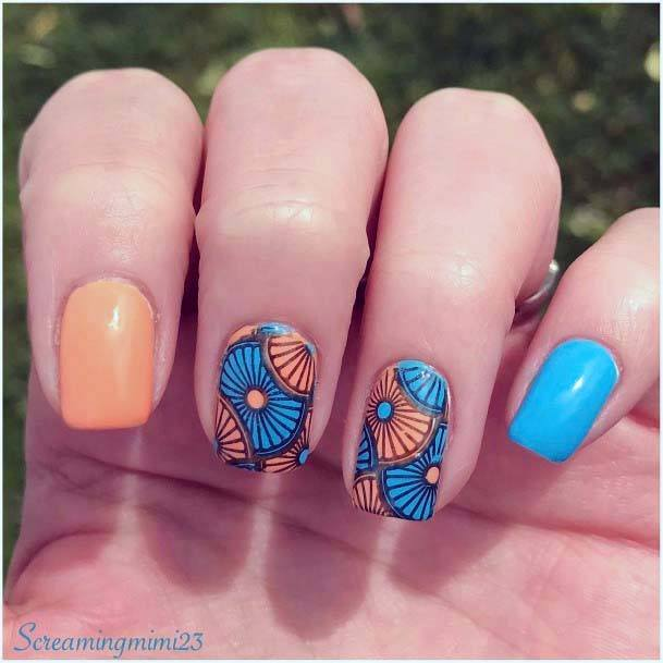 Pretty Designs Blue And Orange Nails For Women