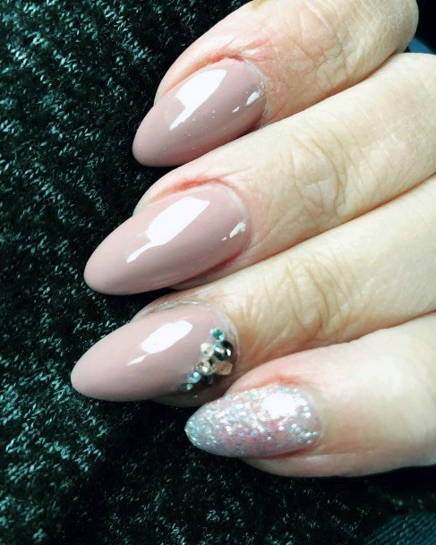 Pretty Fancy Nude Nail Art With Jewels