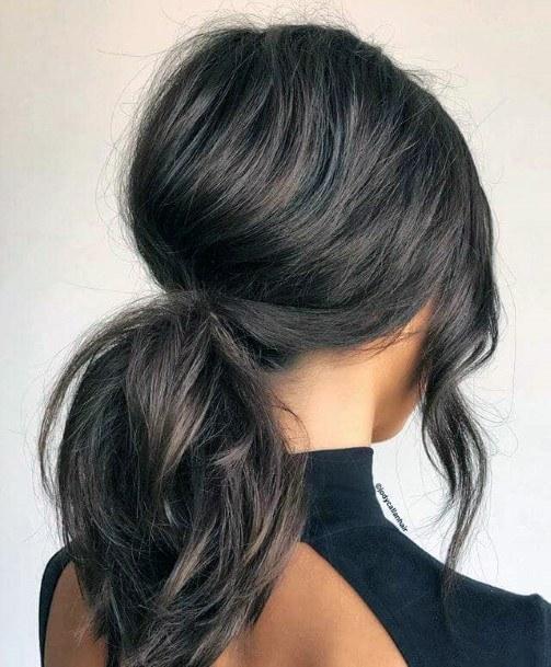 Pretty Hairstyle Sleek Dark Pony