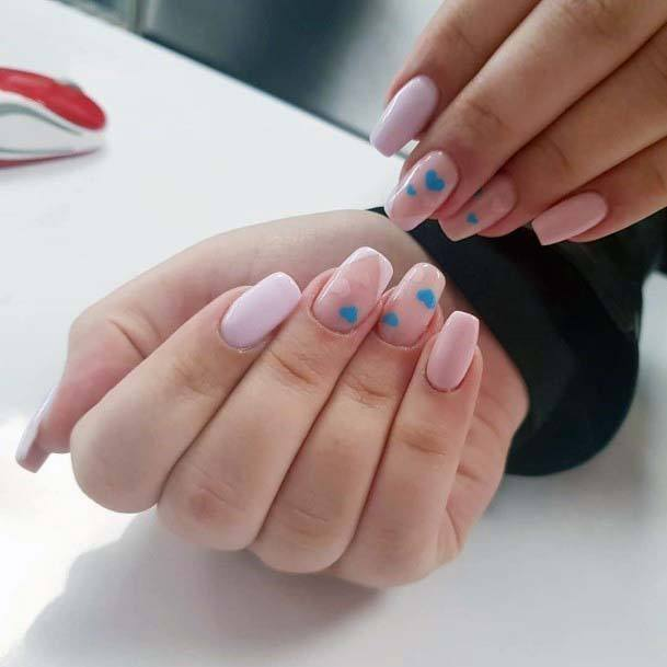 Pretty Little Blue Hearts On Light Pink Nails