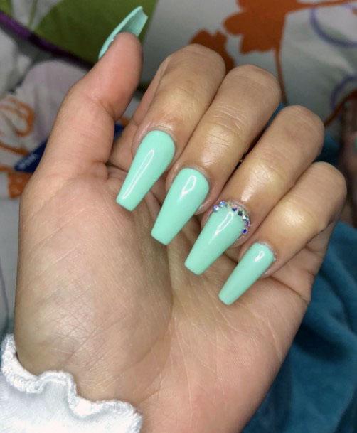 Pretty Mint Nails With Rhinestones