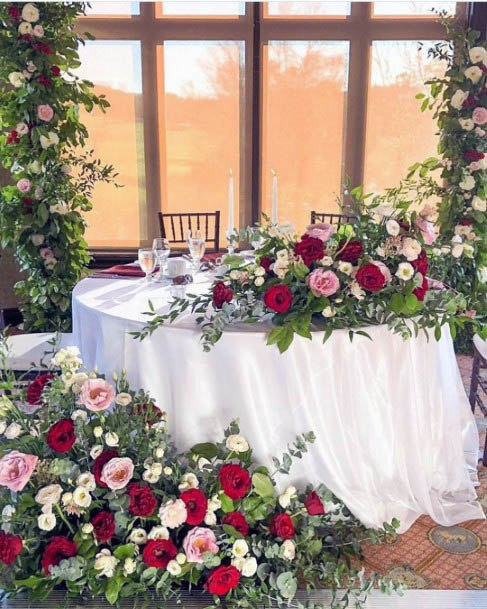 Pretty Pink And Red Roses Wedding Flowers
