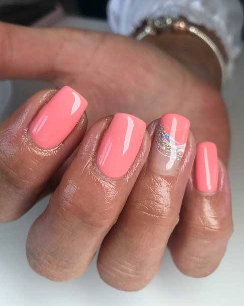 Pretty Pink Colored Nails With A Hint Of Sparkles