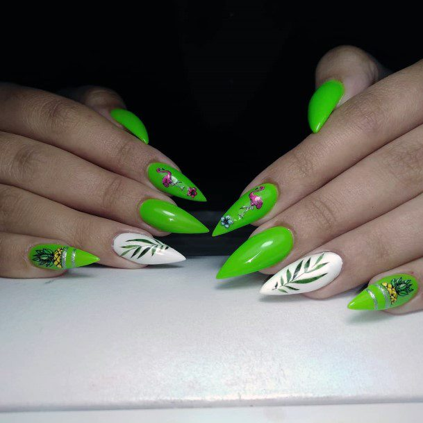 Pretty Pink Flamingos And Leaves Neon Green Nails