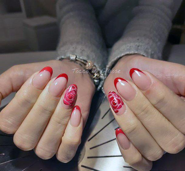 Pretty Red Rose Romantic Nails Women