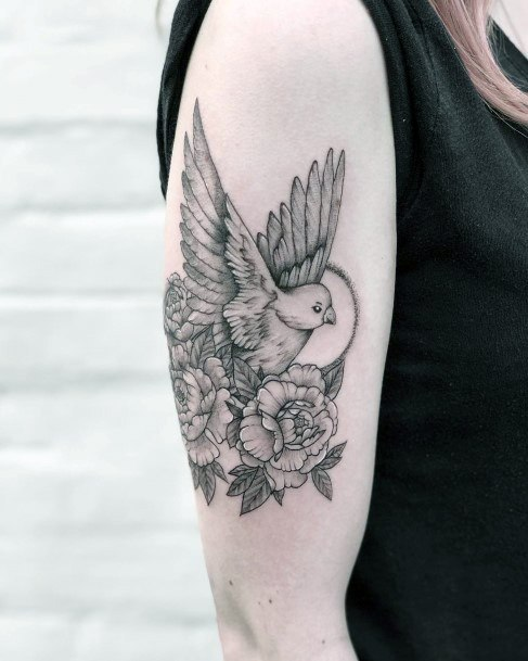 Pretty Rose And Dove Tattoo For Women