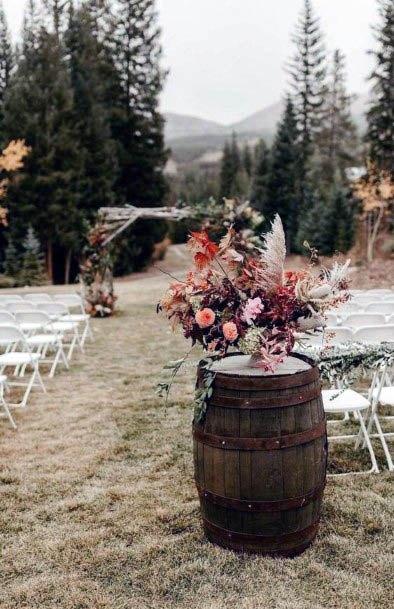 Pretty Rustic Wedding Flowers Barrel Art