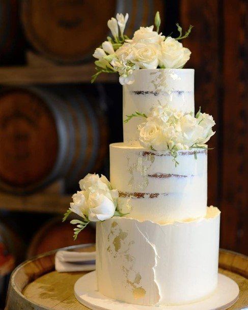 Pretty White Roses Wedding Cake Toppers