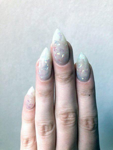 Pretty White Shaded Glass Nails Women