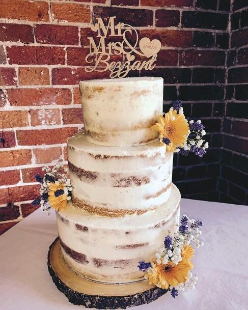 Pretty White Wedding Cake Women Sunflowers