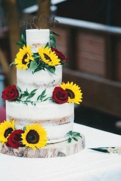 Pretty Yellow Red Flowers On Cake Wedding