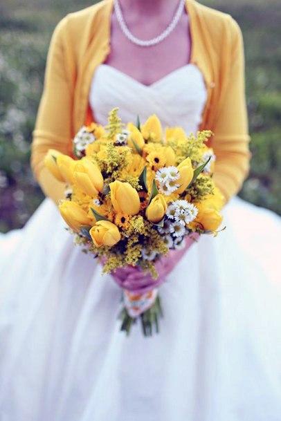 Pretty Yellow Tulip Flowers Bouquet