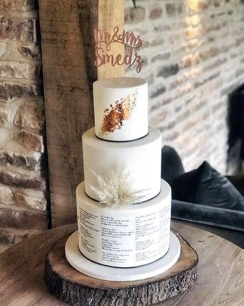 Printed Quotes White Unique Wedding Cake