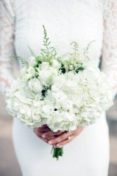 Pristine Clear White Hydrangea Wedding Flowers