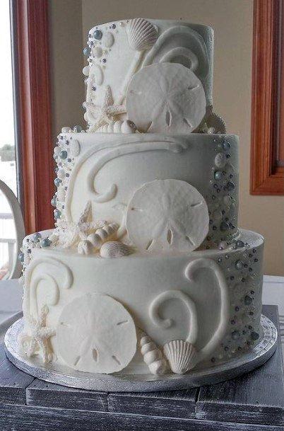 Pristine White Beach Wedding Cake Women