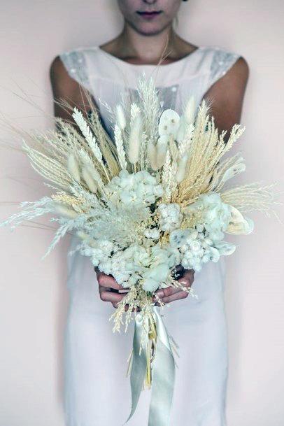 Pristine White Boho Wedding Flowers Bunch Art