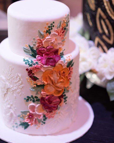 Pristine White Cake With Beautiful Flowers Wedding