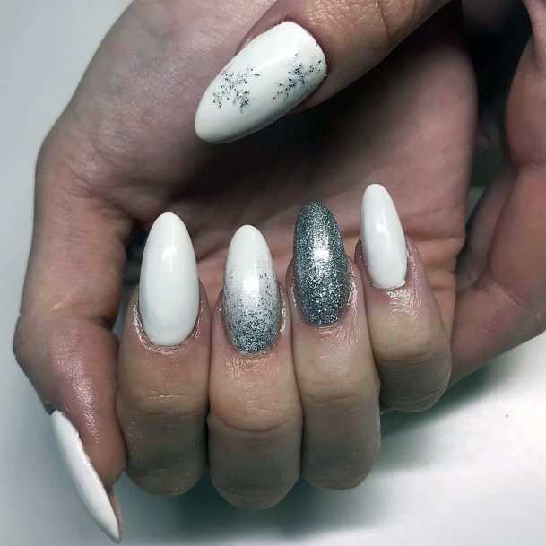Pristine White Snow Nails With Grey Accent For Women