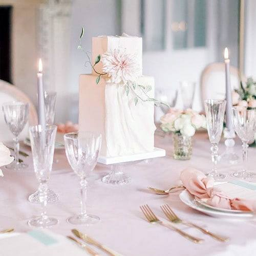 Pristine White Square Wedding Cake